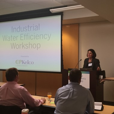 Alejandra Gavaldón, Director of Federal Government Affairs and Water Policy for San Diego Mayor Kevin Faulconer, addresses 40+ attendees of the Industrial Water Efficiency Workshop on October 8, 2015. The event was hosted by CP Kelco and held at the SDG&E Innovation Center.